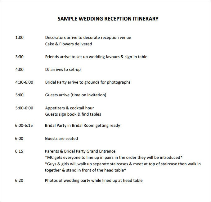 44 wedding itinerary templates doc pdf psd free for Wedding day schedule of events template