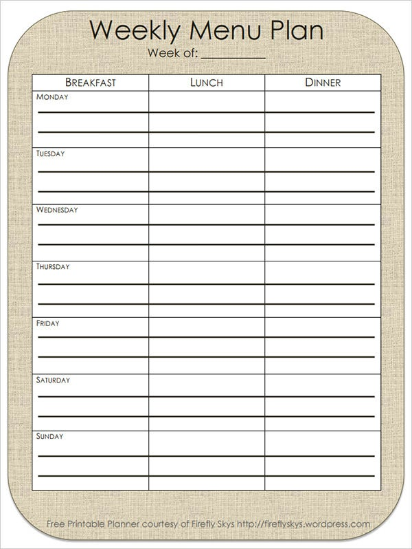 sample weekly menu plan template