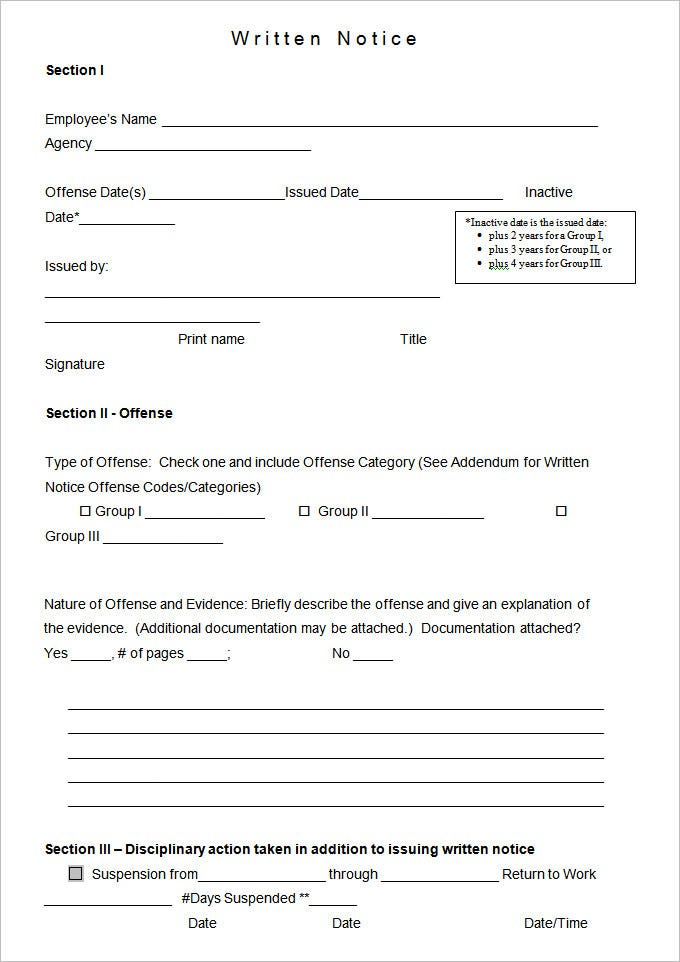 Employee Notice Form Employee Warning Notice Form Write Up