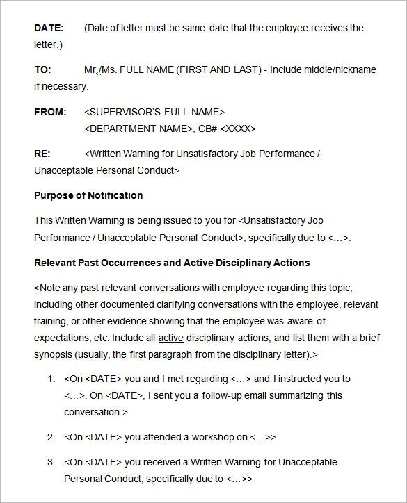 Disciplinary Memo Template | 20 Sample Disciplinary Letter Templates Word Apple Pages Google