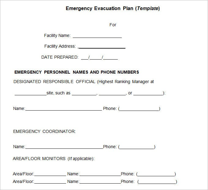 sampleemergency evacuation template
