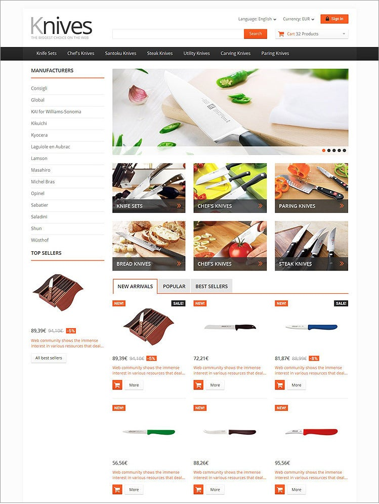 selling knives prestashop theme 1391