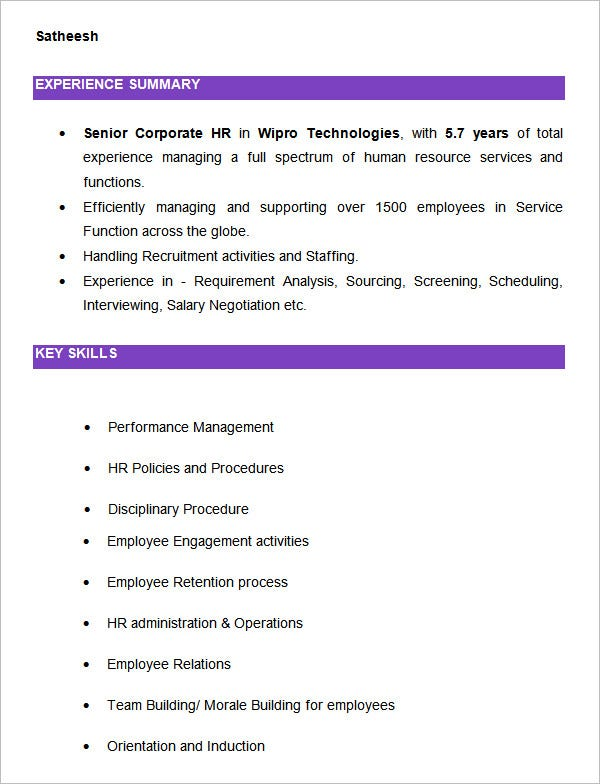 Sample Hr Resumes  Hr Resume Cv Templates Hr Templates Free
