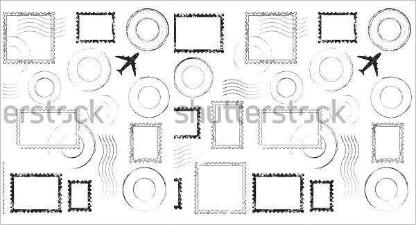 set of postal stamps template