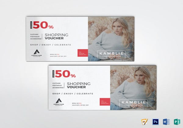 shopping fashion voucher illustrator template