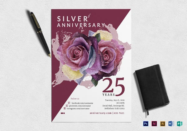 silver-jubliee-anniversary-flyer-template