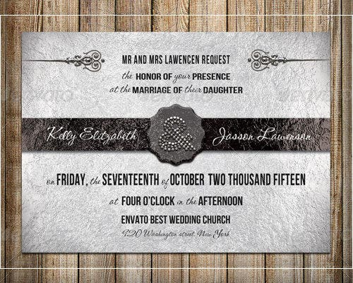 silver wedding formal invitation template