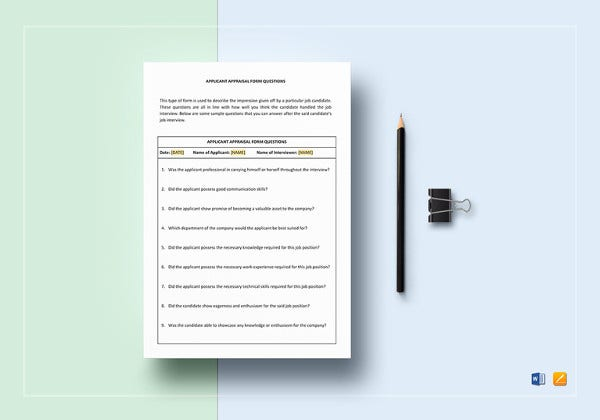 simple applicant appraisal form template