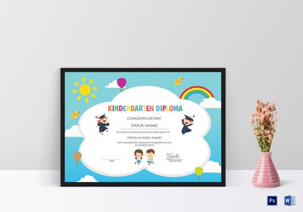 simple kindergarten diploma certificate template