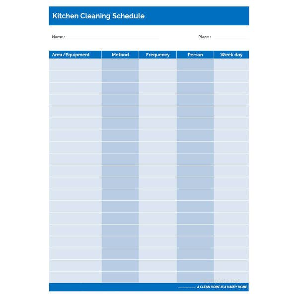 simple kitchen cleaning schedule template