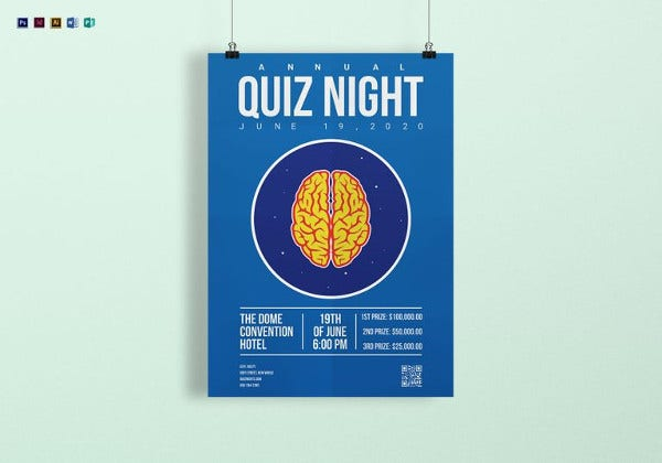Simple Quiz Night Poster Template