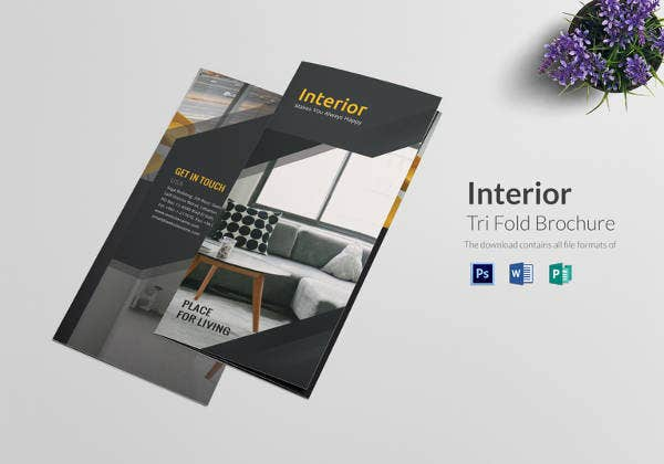 simple tri fold interior brochure template
