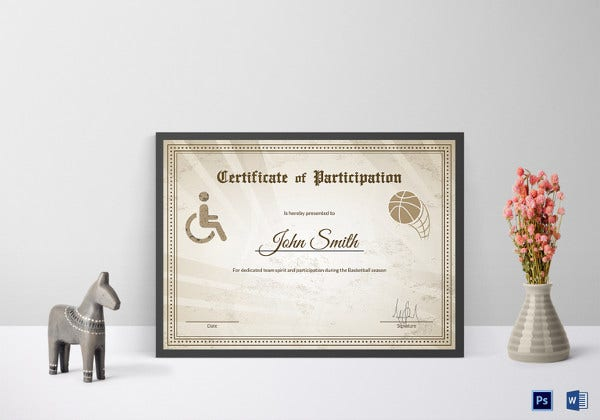 simple wheelchair basketball participation certificate