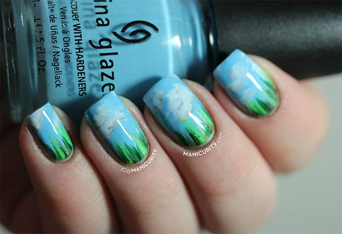 skyblue and green nail design