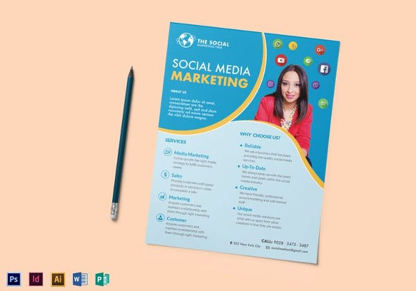 social media marketing flyer template in word