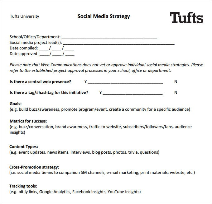 Social Media Strategy Template Free PDF Documents Download - Social media content strategy template