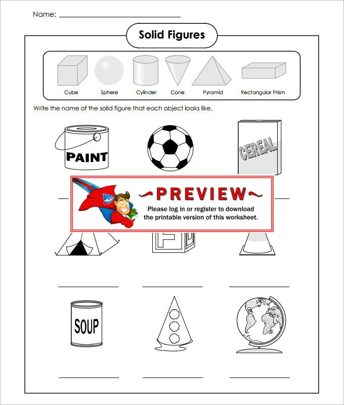 solid figures high school geometry worksheet template