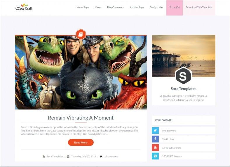 sora craft cinema responsive blogger template 788x574
