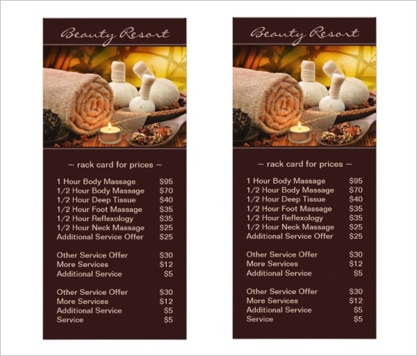 Spa Menu Of Services Template