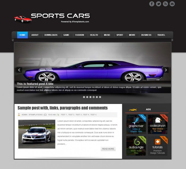sports cars automobile responsive blogger template 788x719