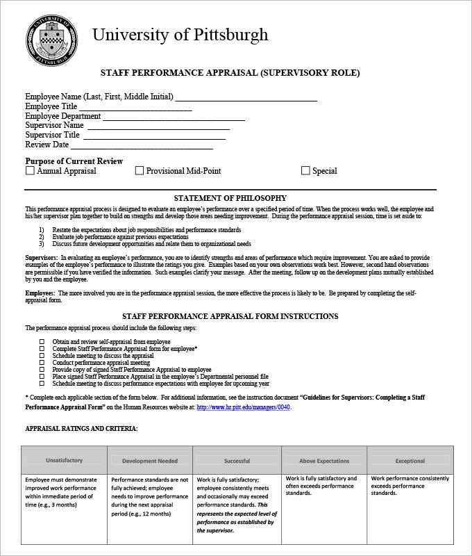 11 HR Appraisal Forms HR Templates – Sample of Appraisal Form for Employee