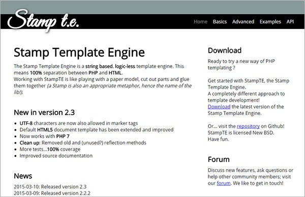 stamp php template engine