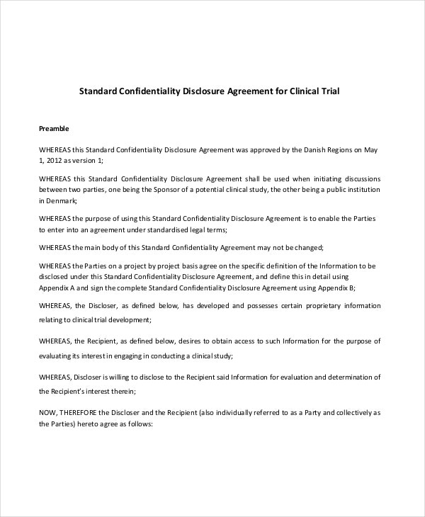 standard-confidentiality-disclosure-agreement-for-clinical-trial