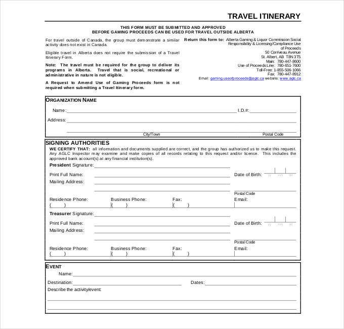 42 Travel Itinerary Templates Free Sample Example Format – Business Travel Itinerary Template