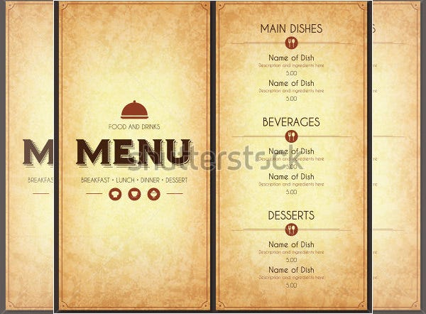 stock vector illustration food menu template