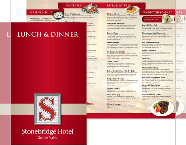 stonebridge hotel lunch dinner menu template