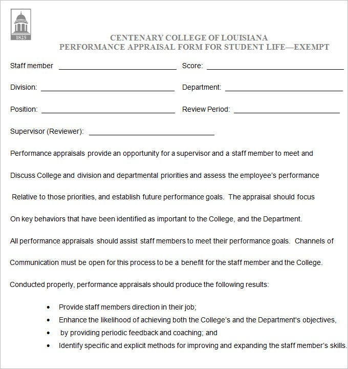 Student Performance Appraisal Form