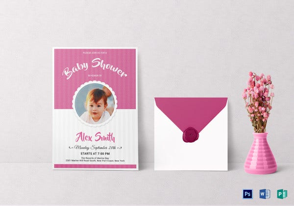 stylish baby shower invitation word template