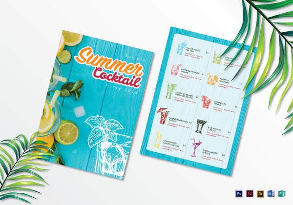 summer cocktail drink menu list template