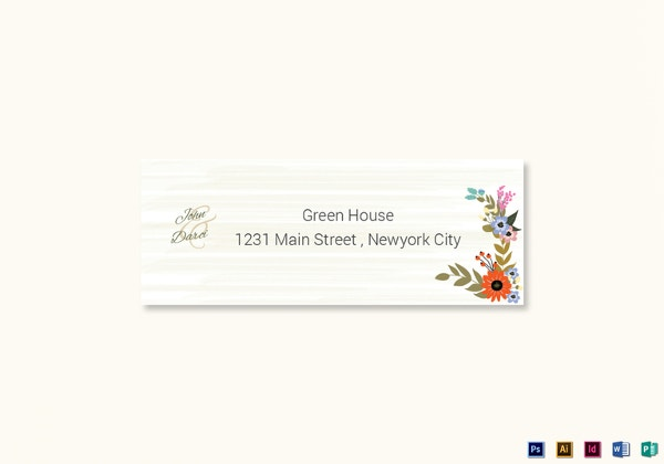 summer floral wedding address label card template