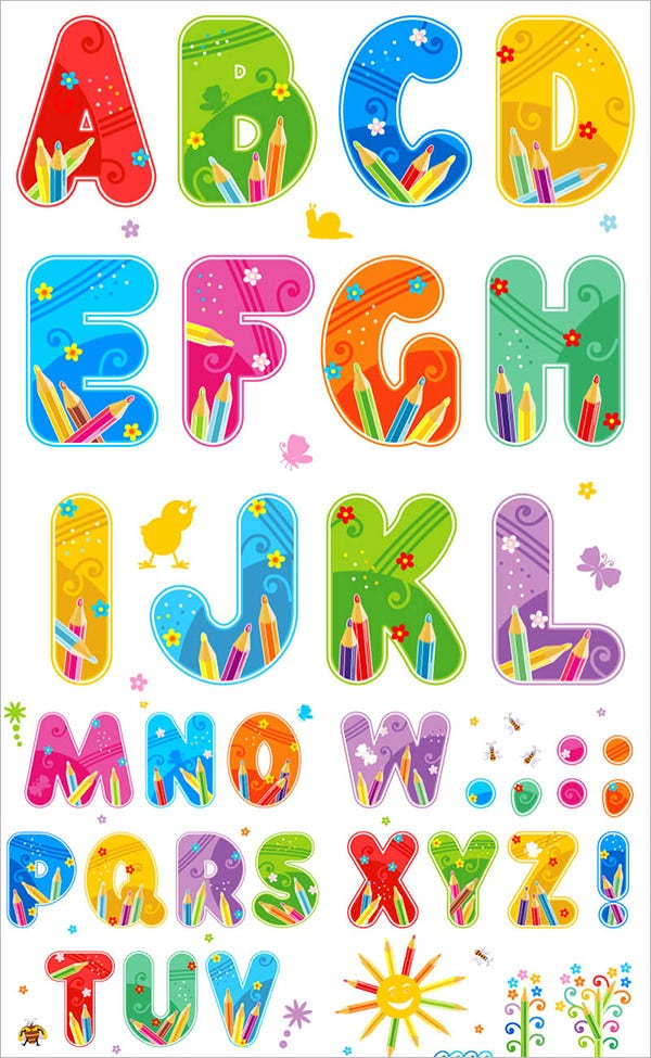 summer large alphabet letters template