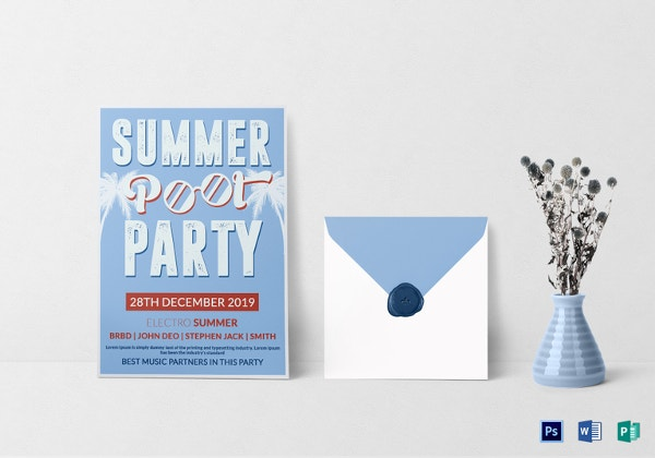 summer pool party invitation template1