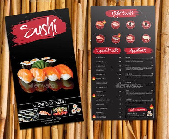 sushi bar menu psd template
