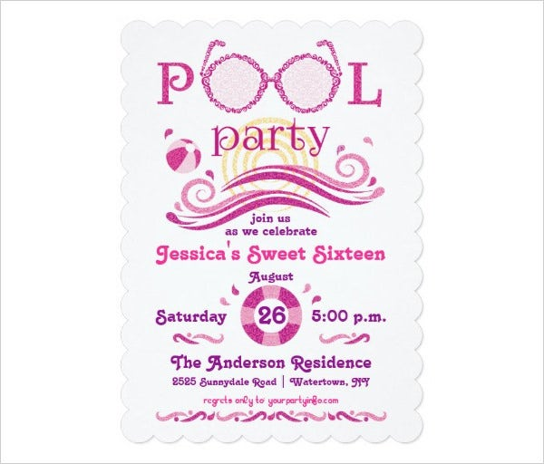 Sweet 16 Pool Party Invitation Template