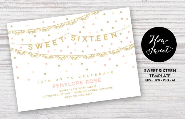 sweet sixteen party invitation card template