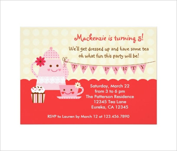 Tea Party Invitation Template 40 Free PSD EPS Indesign Format – Tea Birthday Party Invitations