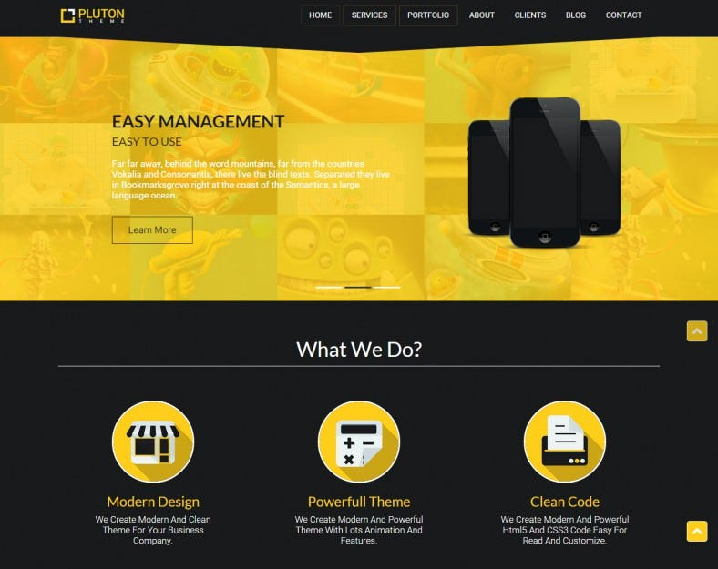 ta pluton yellow responsive wordpress template 788x625