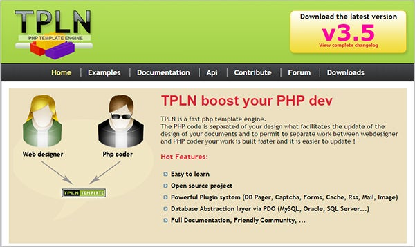 tpln fast php template engine
