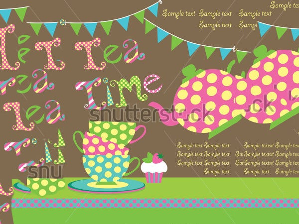 tea party card vector illustration