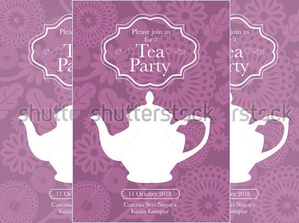 Tea Party Invitation Card Template Vector Illustration Sample