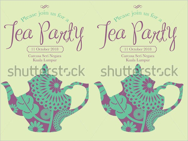 Tea Party Invitation Template Vector Illustration