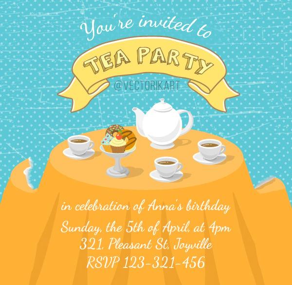 tea party invitation template