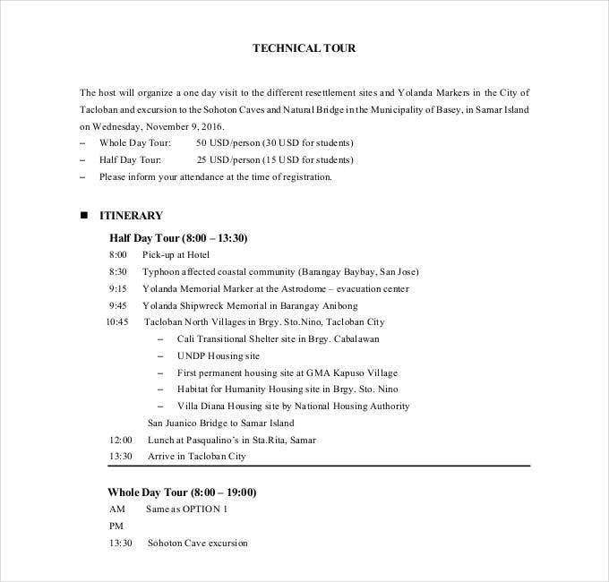 technical-tour-itinerary-example