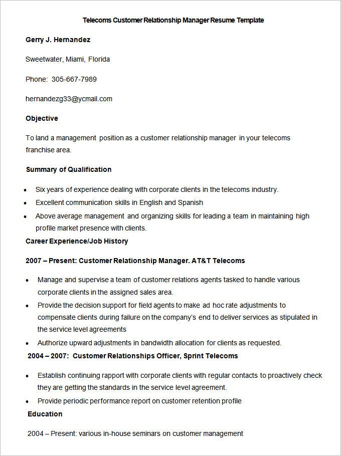 Management Resume Templates. Project Manager – Network Planning