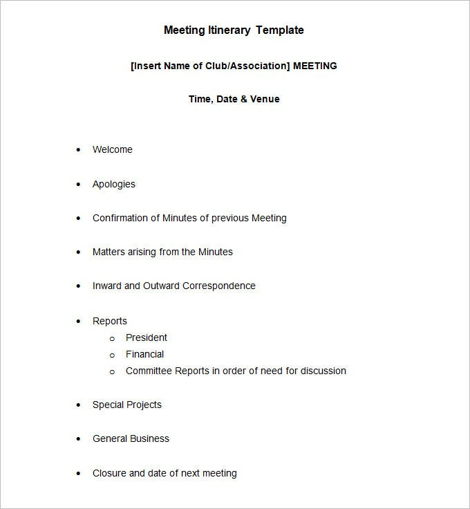 Itinerary Meeting Template  Blank Calendars