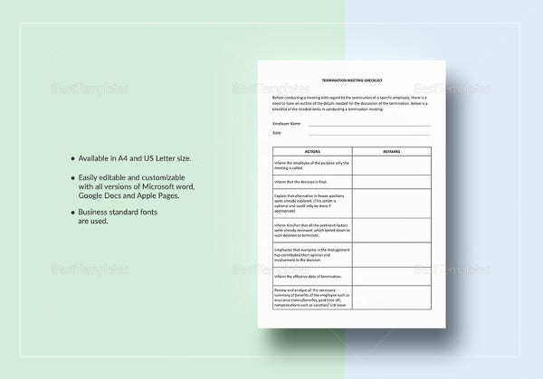 termination meeting checklist template1